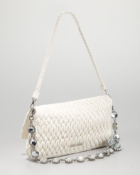 Ruched Napa Leather Crystal Bag, Plaster
