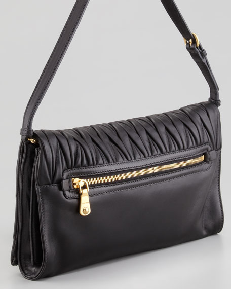 Matelasse Shoulder Bag, Black