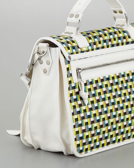 PS1 Woven Leather Medium Satchel Bag, Sunshine/White