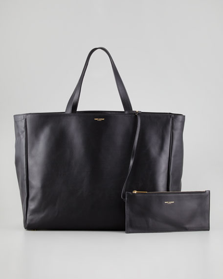Reversible Leather/Suede East-West Tote Bag, Black