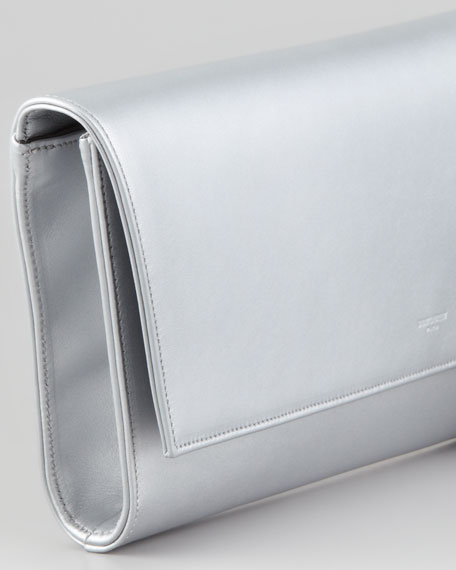 Diagonale Leather Clutch Bag, Silver