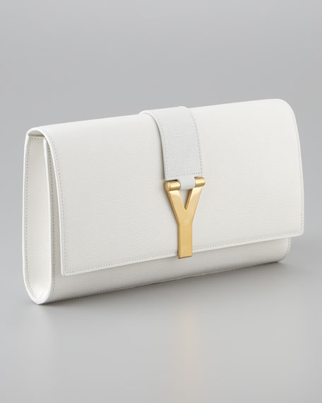 Y Ligne Clutch Bag, Off White