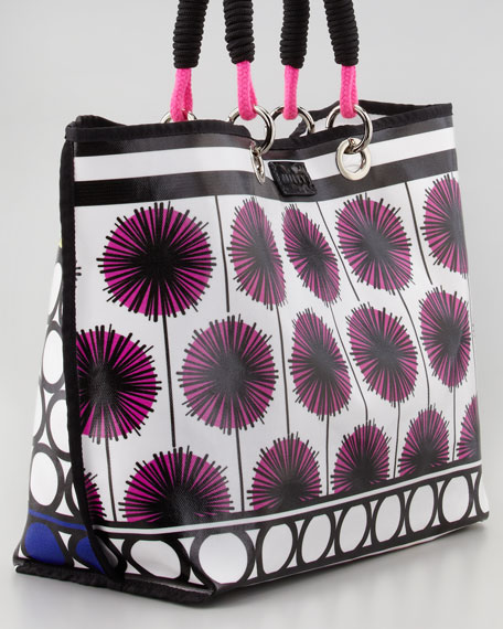 Coated Canvas Tote Bag, Pink/Multicolor