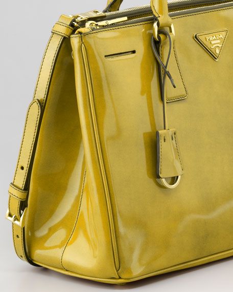 Spazzolato Double-Zip Tote Bag, Yellow