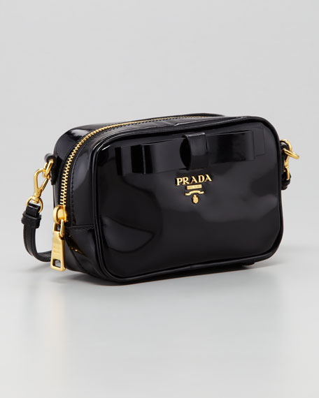 Spazzolato Bow Crossbody Bag, Black