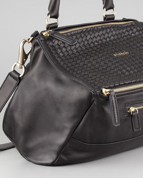 Pandora Medium Woven-Top Satchel Bag, Black