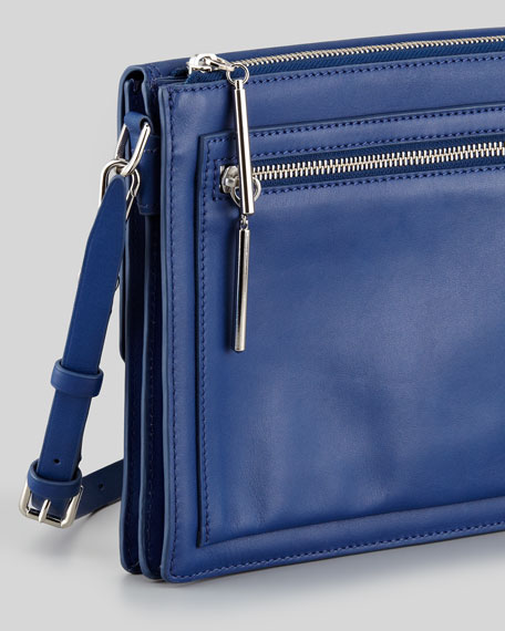 Polly Double-Compartment Crossbody Bag, Dark Blue