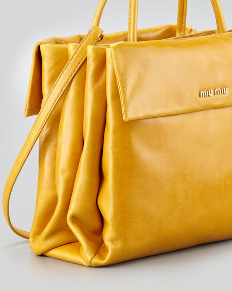 Vitello Four-Pocket Tote Bag, Yellow