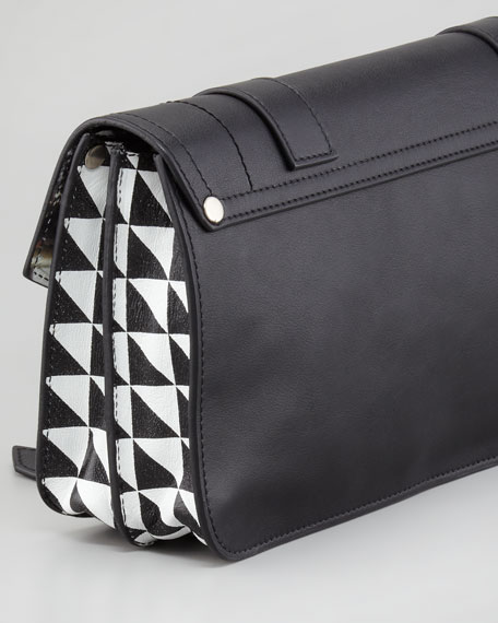 PS1 Pochette Triangle-Print Clutch Bag, Black/White