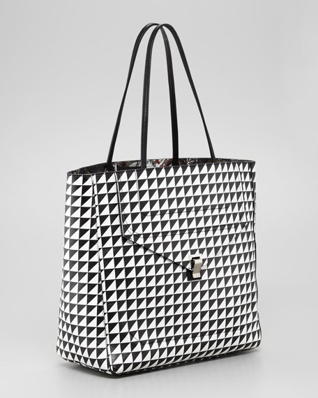 Triangle-Print Shopping Tote Bag, Black/White