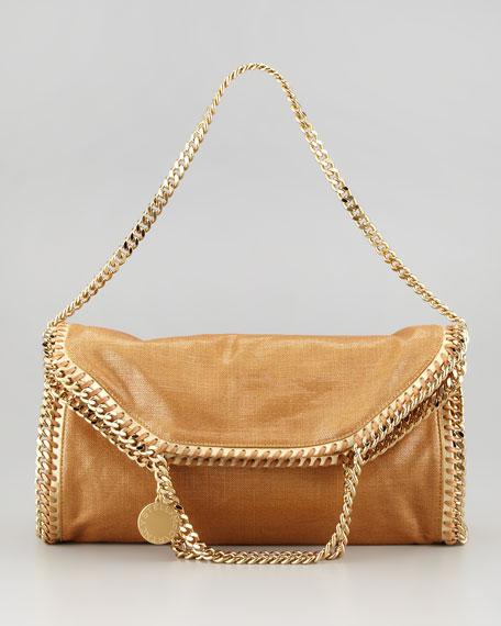 Metallic Fold-Over Falabella Shoulder Bag, Gold