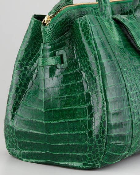 Cristina Crocodile Shoulder Tote Bag, Green
