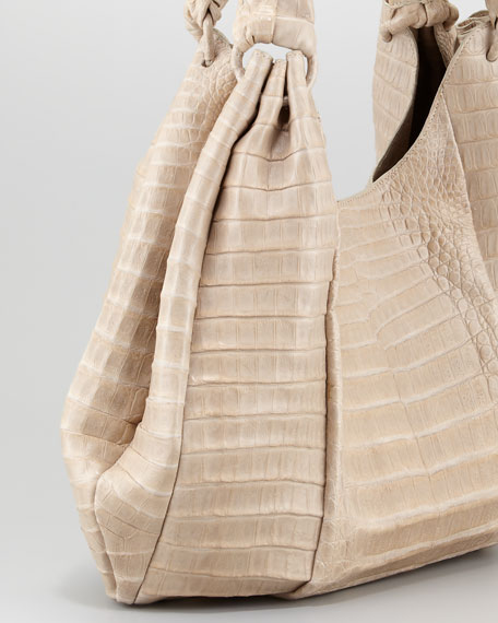 Pleated Crocodile Hobo Bag, Sand