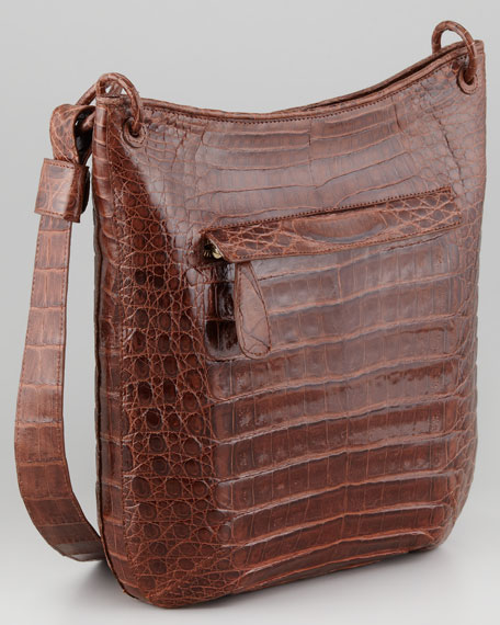 Crocodile Messenger Bag, Brown