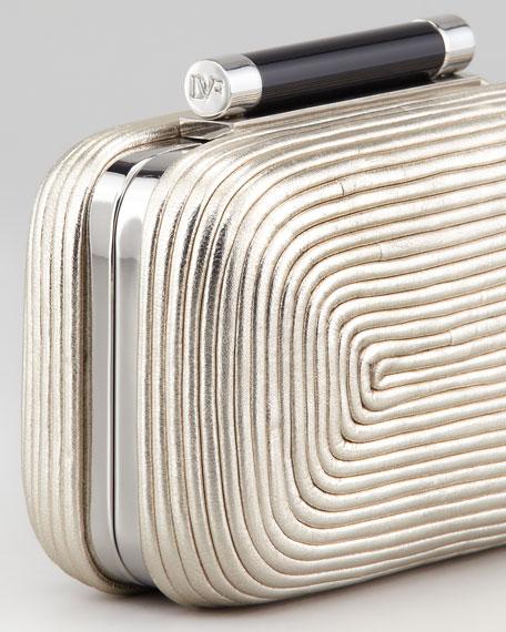 Tonda Small Metallic Clutch Bag, Light Gold