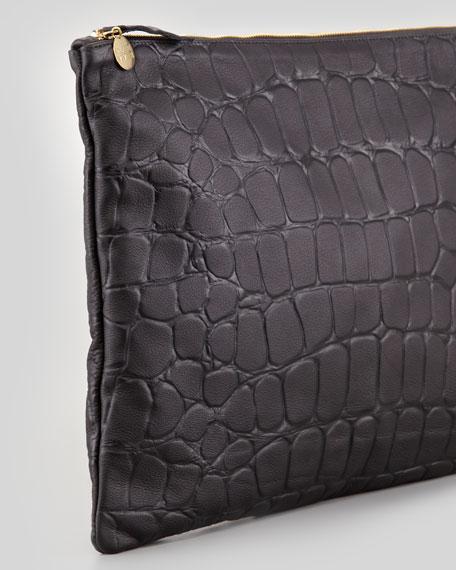 Oversized Tortoise-Embossed Clutch