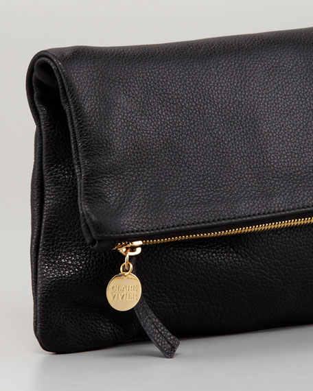 Pebbled Leather Foldover Clutch