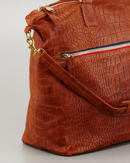 Crocodile-Embossed Lambskin Satchel Bag