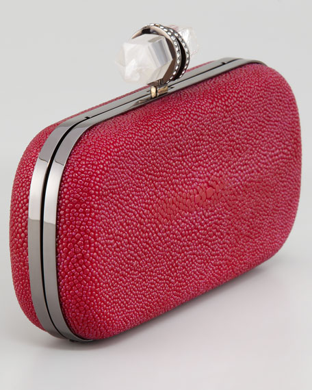 Lily Medium Stingray Box Clutch, Pink