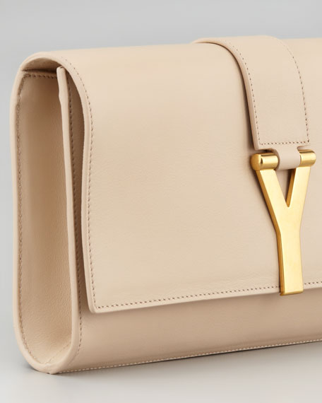 Y Ligne Soft Clutch Bag, Neutral