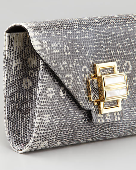 Electra Lizard Clutch Bag, Gray