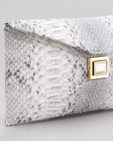 Super Stretch Prunella Python Clutch Bag, Gray