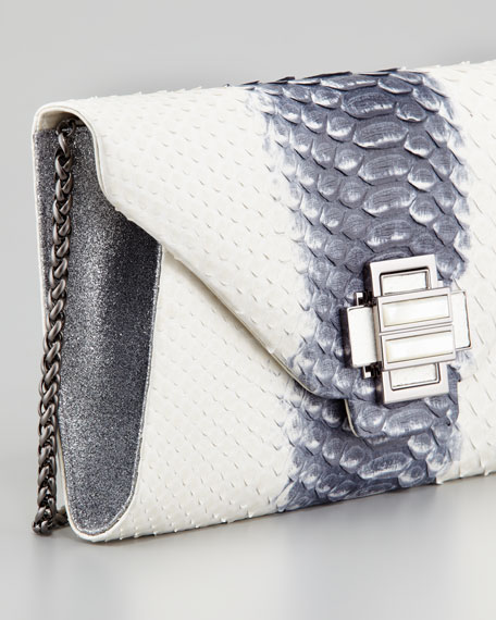 Electra Medium Python Clutch, White