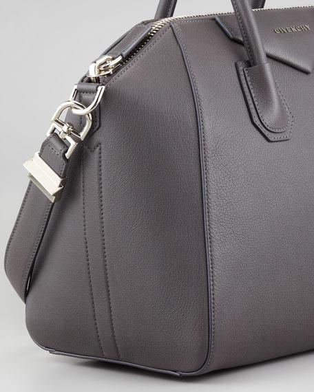 Antigona Medium Sugar Goatskin Satchel Bag, Gray