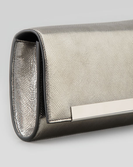 Lutetia Flap Clutch Bag, Silver