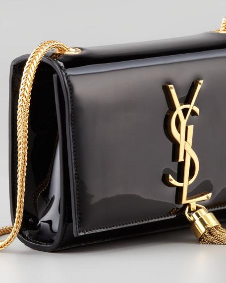 Cassandre Small Patent Crossbody Bag, Black