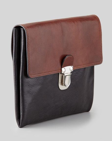 Bicolor Leather Pochette Clutch, Brown/Black