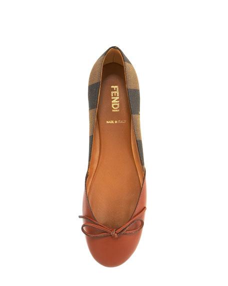Pequin Leather & Canvas Ballerina Flat