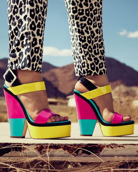 Neon Colorblock Platform Sandal