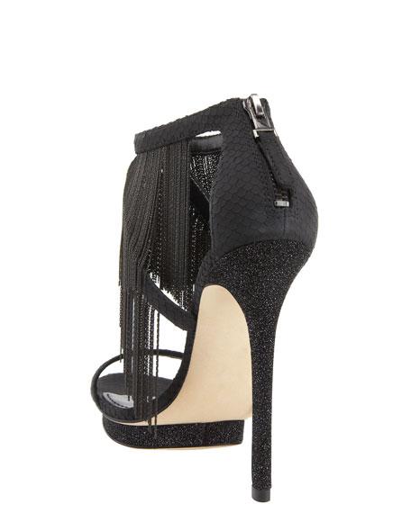 Chain-Fringe Platform Sandal