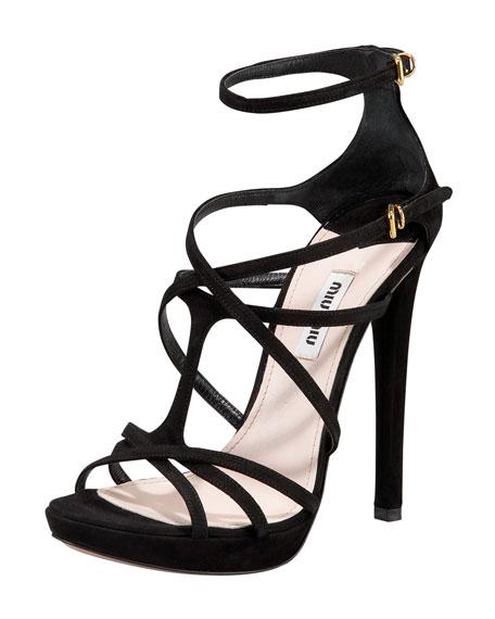 Crisscross Strappy Ankle-Wrap Sandal
