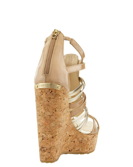 Pekabo Metallic & Patent T-Strap Cork Sandal