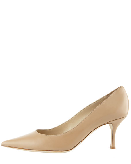 Lizzy Mid-Heel Pointed Kidskin Pump