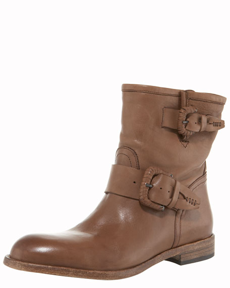 Double-Buckle Flat Mid-Calf Boot