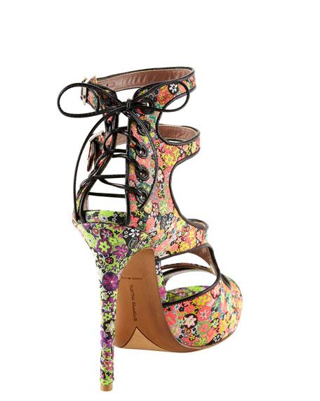 Bailey Floral-Print Lace-Up Sandal