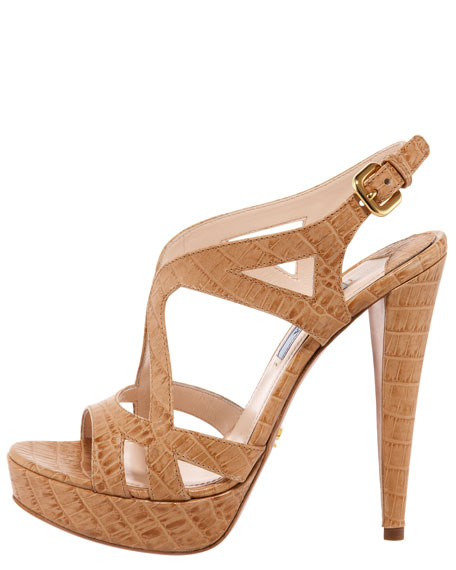 Crocodile-Stamped Butterfly Platform Sandal