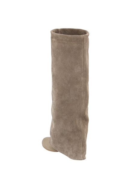 Fold-Over Suede Knee Boot