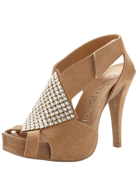 Penelope Rhinestone-Accent Suede Sandal
