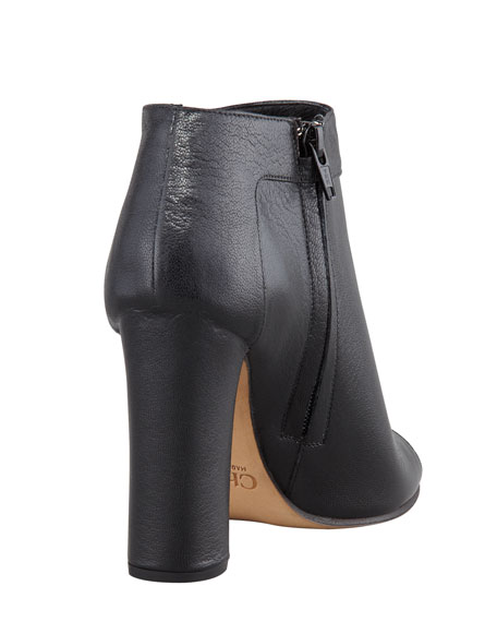 Open-Toe Leather Bootie