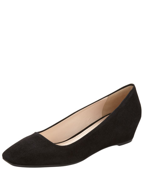Suede Square-Toe Demi Wedge