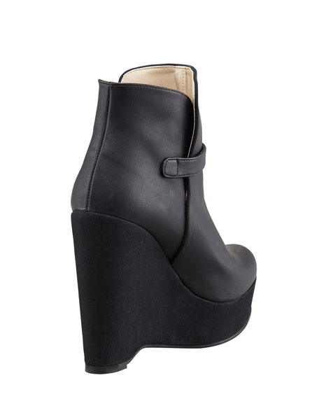 Side-Buckle Ankle-Wedge Boot