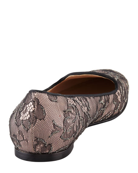 Caviar-Crystal Lace Smoking Slipper