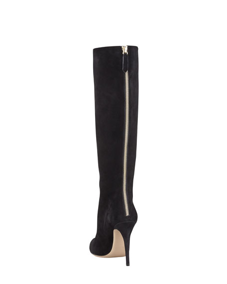 Ruffle-Front Suede Knee Boot