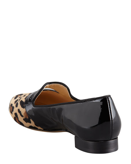 Bisoux Leopard-Toe Patent Slipper