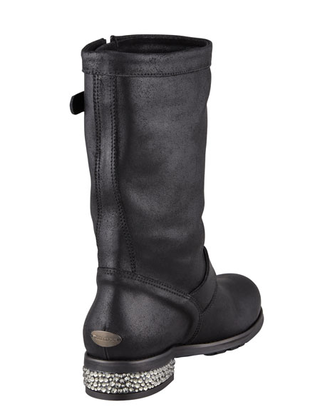Crystal-Detailed Biker Boot