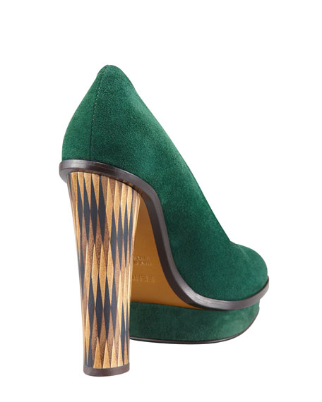 Wuthering Heights Inlay-Heel Suede Platform Pump